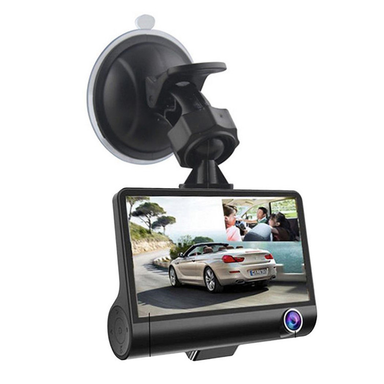 3 Lens Dash Cam 4.0 Inch 1080p manual car camera With Rearview Video Camera Recorder car dvr