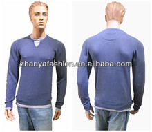 Men's 2014 fashion 100%cotton with stone washing pullover sweater