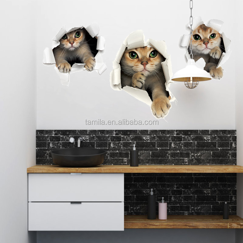 cartoon animals cat wall stickers 3d removable toilet bathroom wallpaper