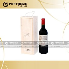 Hot Wooden wine carrier, wine leather box for one bottle 14-035-VDOT-A01 with holder