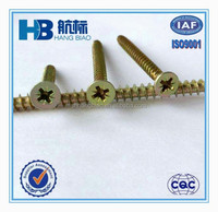 Hot Selling DIN7505 Pozi Drive Double Csk Head Yellow Zinc Chipboard Screw, Made In China.