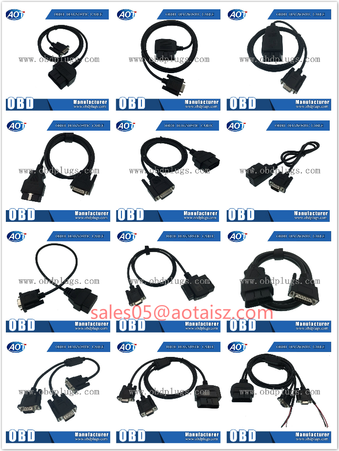 Custom 16 PIN Male J1962 OBD2 OBDII DB15 Male Female Cable