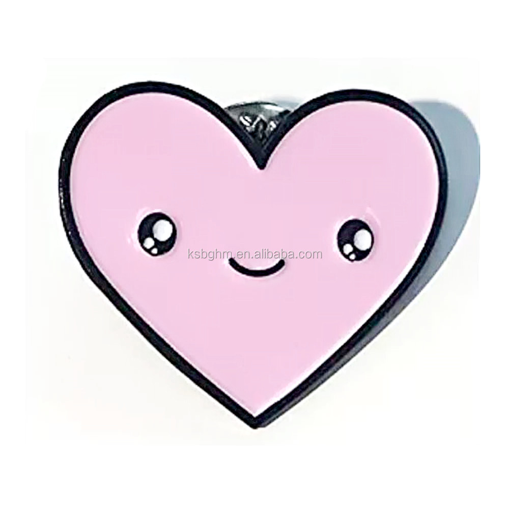 2019 Customized Cute Pink Heart Kawaii Face Metal Enamel Lapel Pin