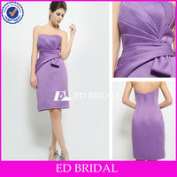 ES-6025 Strapless Ruched Bow Sash Short Column Ruffle Purple Western Wedding Bridesmaid Dresses