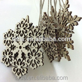 Rustic Wood Sectored Snowflake Nordic Christmas Tree Hanging Decor