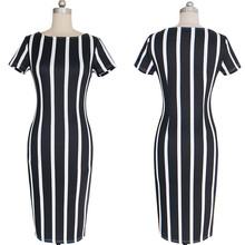 Women dresses new vertical stripes tight elastic dress pictures of latest gowns designs plus size