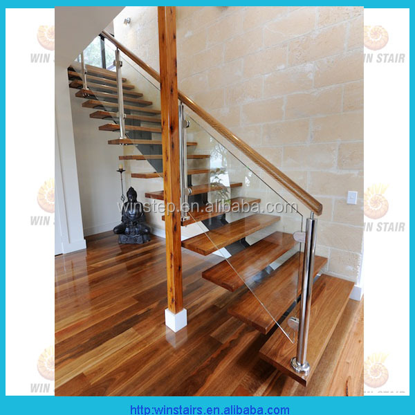 Interior glass railing wood tread stair kit cantilever stairs