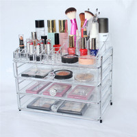 NEW! Custom Logo Printing Deluxe Clear Makeup/Jewelry Organizer,Large Acrylic Drawers For Makeup