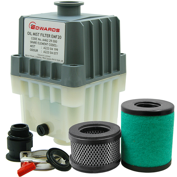 Edwards EMF20 Oil Mist Filter, KF25 Ports, for RV12, E1M18, E2M18 Vacuum Pumps, A462-29-000