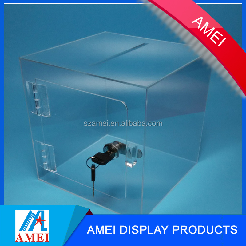 Factory custom color wholesale acrylic donation box with lock and key