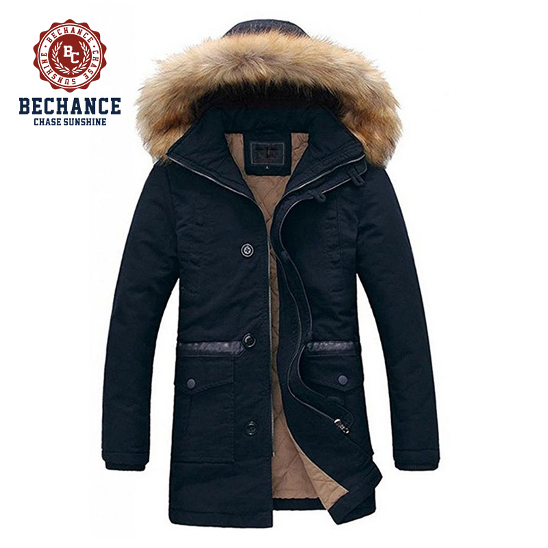 2016 men's fashion winter long thicken padded jacket outwear overcoat with detachable fur hood for wholesale clothing