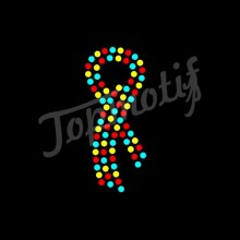 Colorful Autism Awareness Ribbon Rhinestone T-Shirt Heat Transfer Sticker