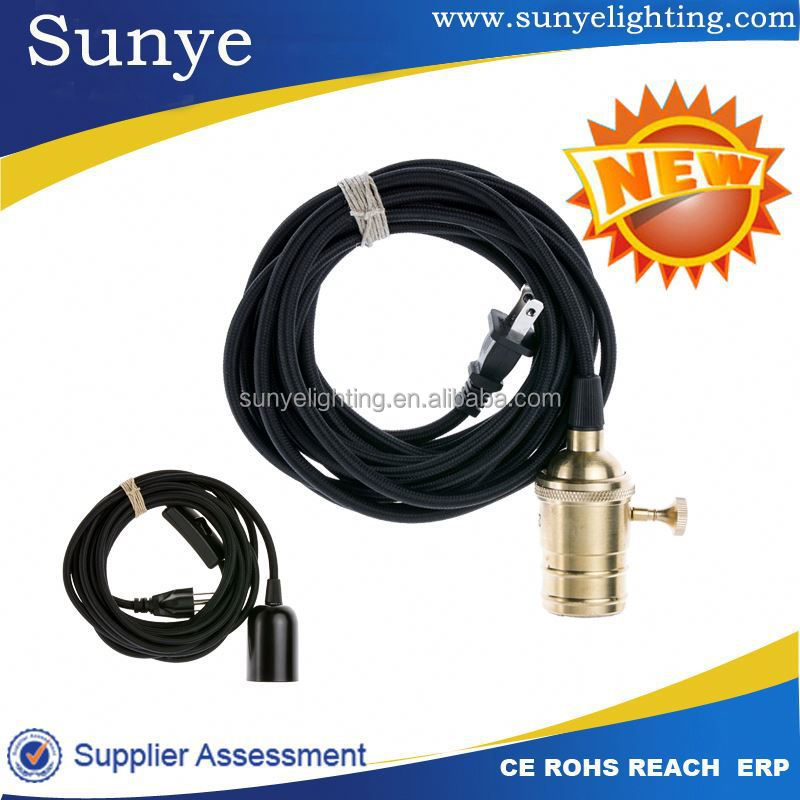 Textile cord with lamp holder,switch,car outlet plug