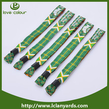 One time use custom your own logo woven wristband for promotional gifts