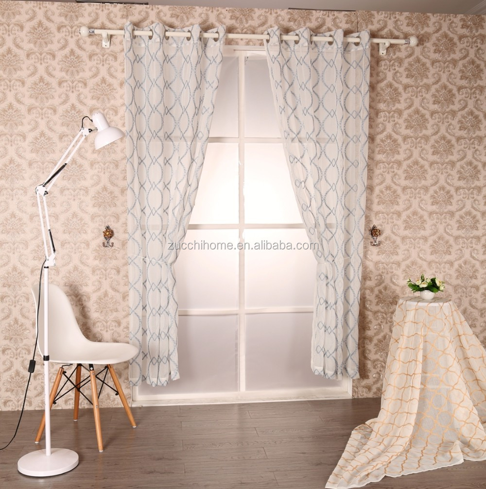 Latest curtain designs embroidered dolly voile curtain Latest window treatments