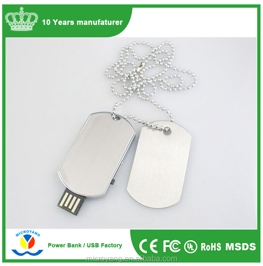 Waterproof Dog Tag Necklace USB 2.0 Memory Stick Flash pen Drive 4GB-32GB