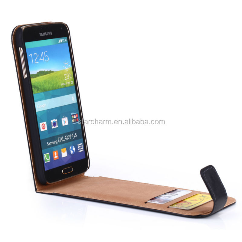 100% Data Correct PU High Quality Flip Leather Case for Samsung Galaxy S5