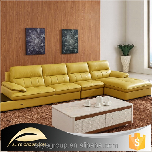 Yellow Modern Leather Sofas: As112- Orange Leather Sectional Sofa/yellow Leather Sofa