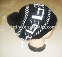 Knitted girls' beanie hats with top ball