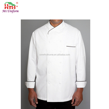 Chain Store OEM Uniform Chef Coat Jacket with Black Piping