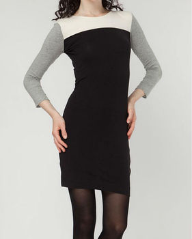 Slim fitted color block 3/4 sleeves mini dress