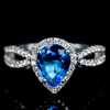 custom blue sapphire gemstone jewelry wedding 925 silver ring