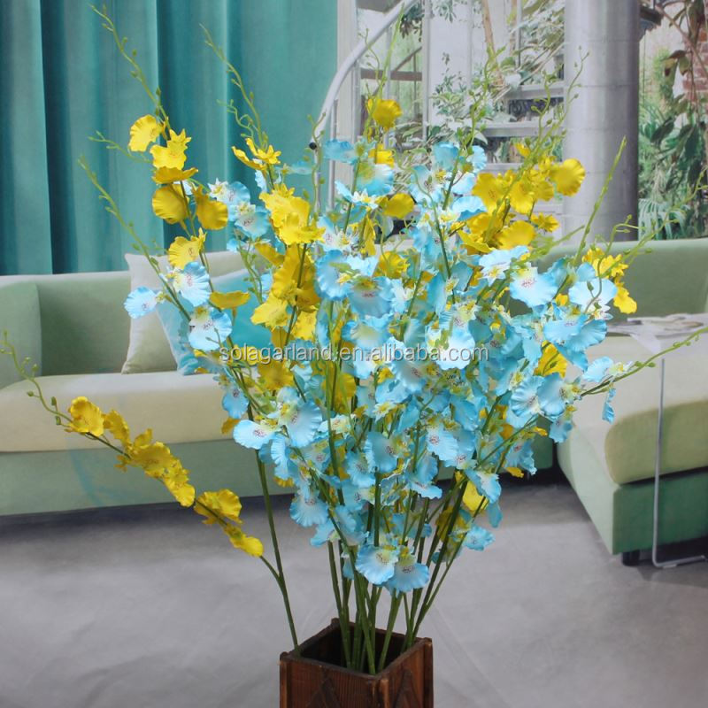 Realistic Blue Silk Orchids Decorative Artificial Flower Plant