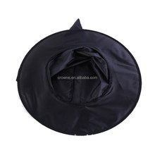 Hot selling Simple Design Black Satin Halloween Party Witch Hat