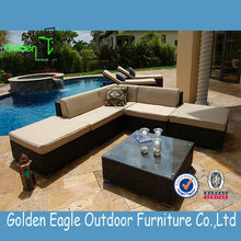 UV-resistant rattan wicker outdoor cube dining sofa table set