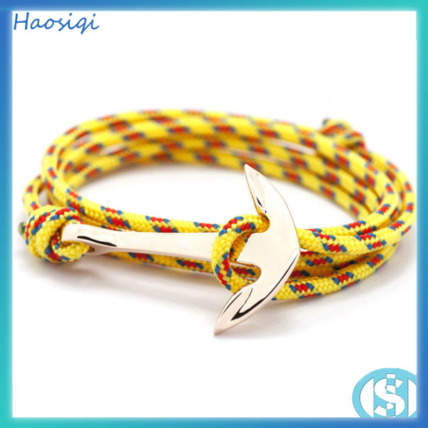 2016 Best selling fashion nylon nautical rope men anchor bracelet