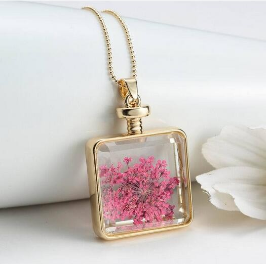 Dried Flower Gold Silver Square Glass Locket Essential Aromatherapy Oil Necklace