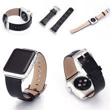 High Quality Bamboo Pattern Smart Watch Band Black Genuine Leather Watch Band for Apple Watch