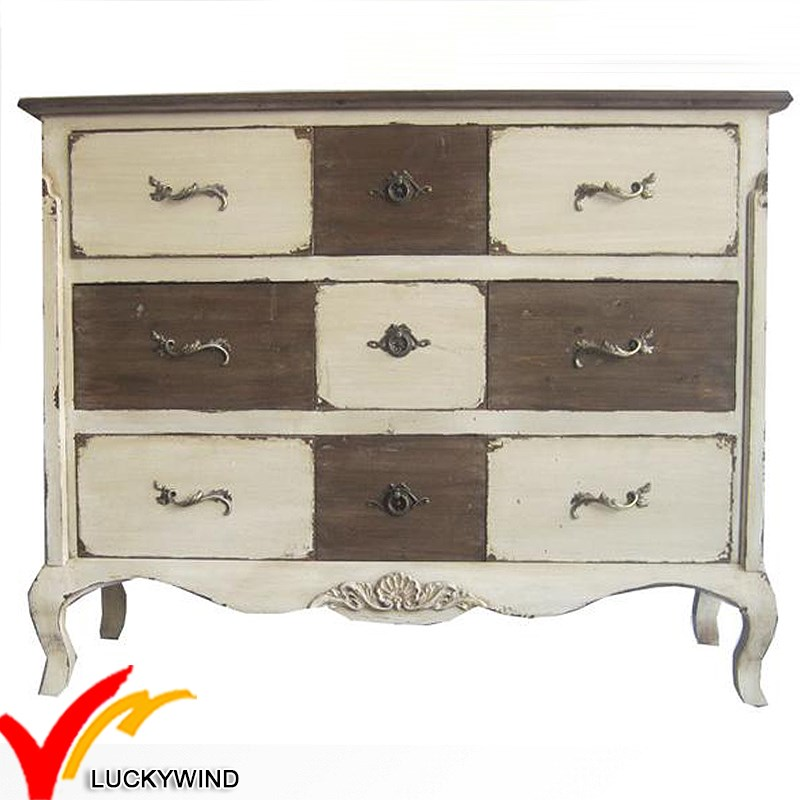 China Vintage Classical Antique French primitive Style cabinet solid wood bedroom furniture
