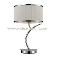 UL CUL One-Light Bedside Table Light In Polished Chrome With Fabric Shade T80243