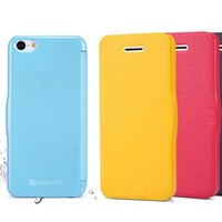 Best quality candy color leather flip case for apple iphone 5c phone accessory