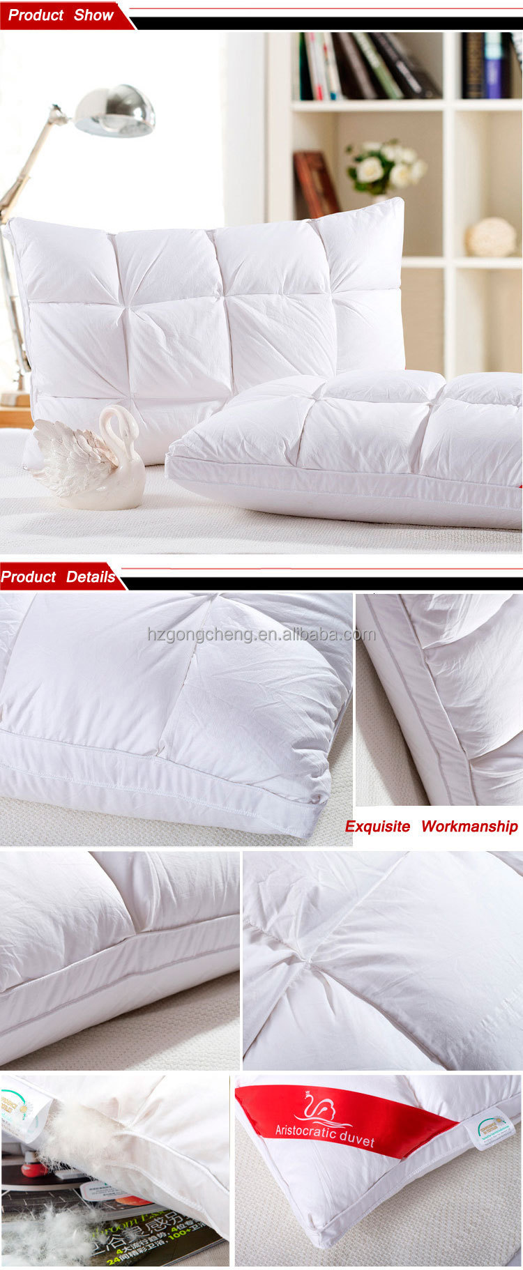 Wholesale Luxury Hotel or Home duck Down Pillow