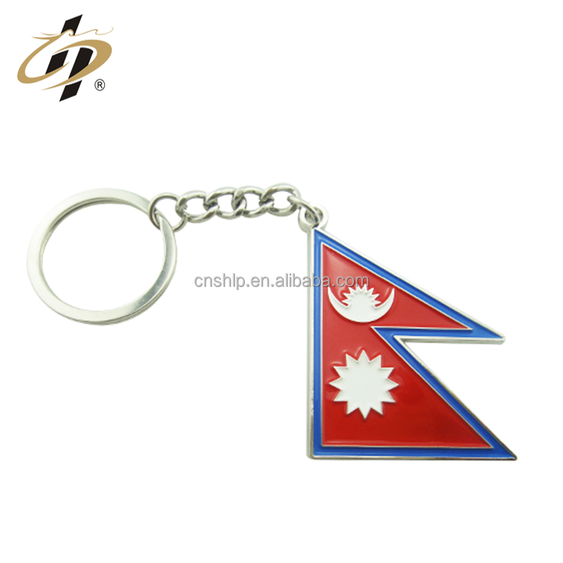 Promotional cheap custom flag banner shape mini shoes metal key ring