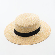 2018 new style high quality fashion sun protect wheat straw boater hat with black band