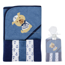 Good Quality Brand Baby Towels Cute Animal Style Baby Hooded Towel & 5 PCS Baby Washcloths Handkerchief 76*76 cm Bath & Shower