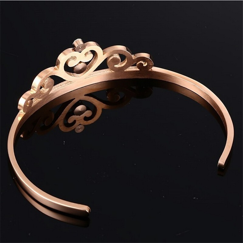 Daihe Crown shaped Rose gold plated Stainless steel adjustable bangle