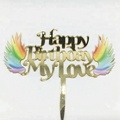 Happy birthday style mirror cake topper design for cake decoration