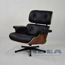 Replica Lounge Chair Palisander Shell Black Leather