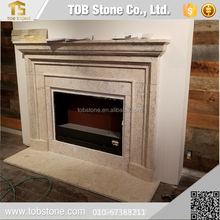 simple designed travertine fireplace mantle surround
