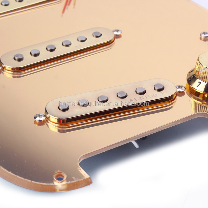 Gold Transparent Prewired Mirror Loaded Pickguard for 5 way Switch Electric Guitar