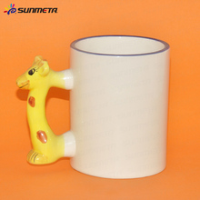 Yiwu Factory Wholesale Sublimation Handle Blank Enamel 3D Deer Animals Mug For kids For Gift