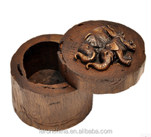 China Wooden jewelry box circular box of old wood logs ring box