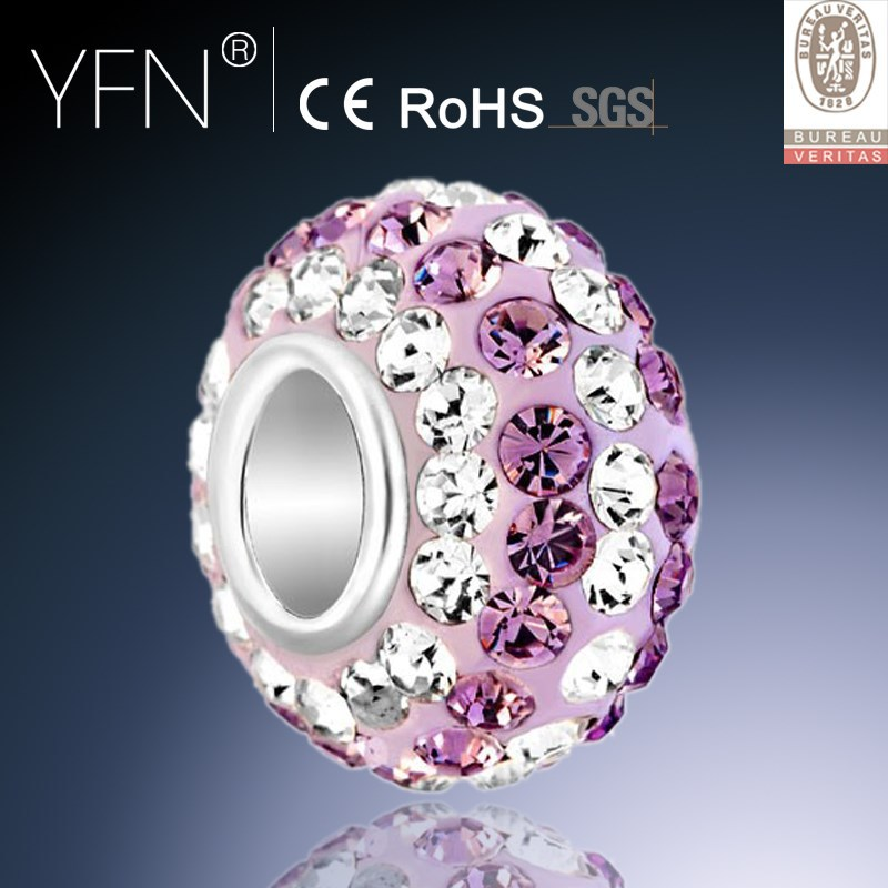 European Style Bracelet Charm Rose Pink &Clear White CZ Ball Bead Sterling Silver Charm Fits European Bracelet