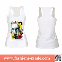 2015 New Fashion Women Skull Head and Flowers Tank Top for Sale