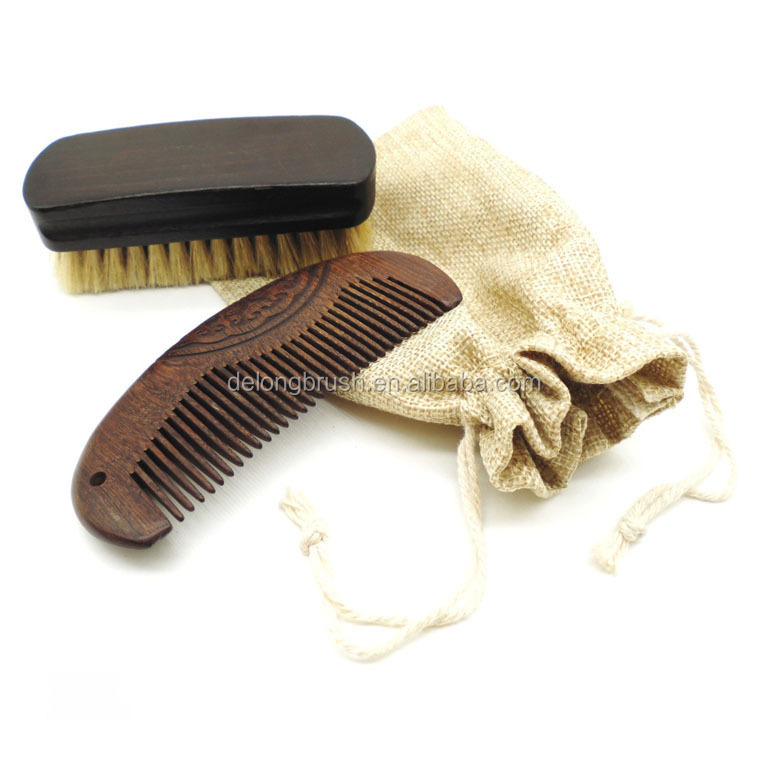 Beard Brush Set with Wood Handle + Boar Bristle