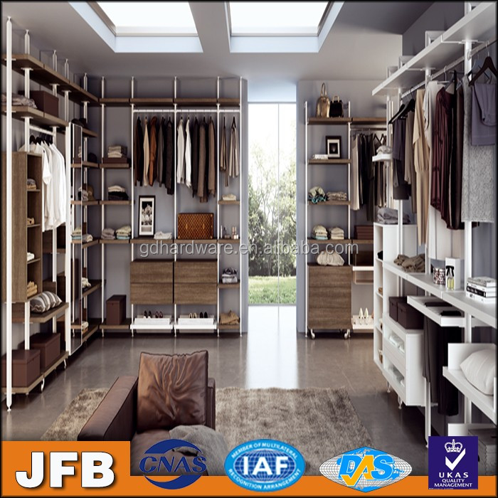 Sliding closet doors operator walk in aluminum bedroom wardrobe system